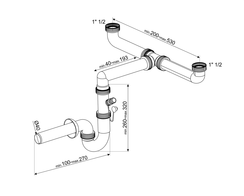 SMEG 3713 Universal-Siphon Weiß