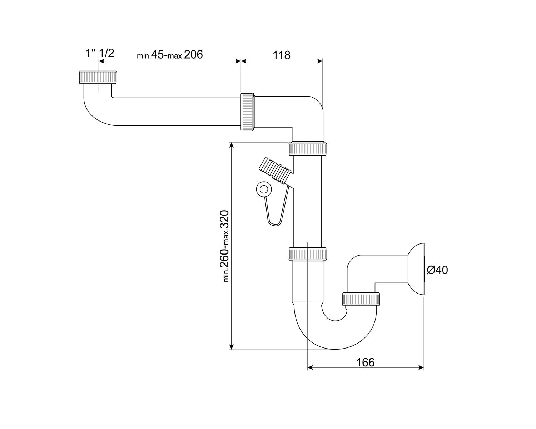 SMEG 3712 Universal-Siphon Weiß